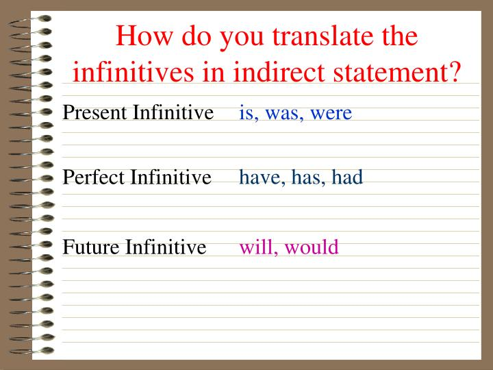 How do you translate the infinitives in indirect statement?