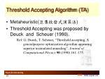threshold accepting algorithm ta