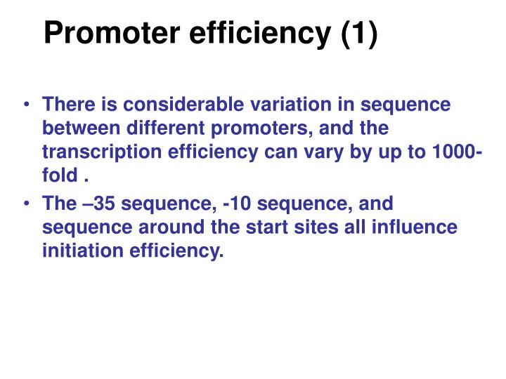 Promoter efficiency (1)