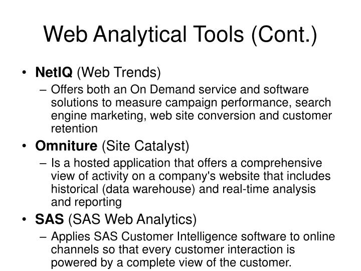 Web Analytical Tools (Cont.)
