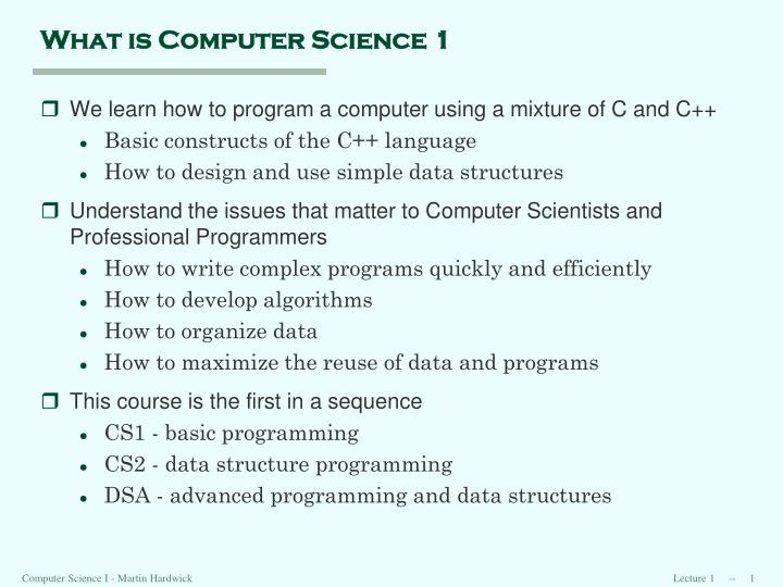 What is computer science 1