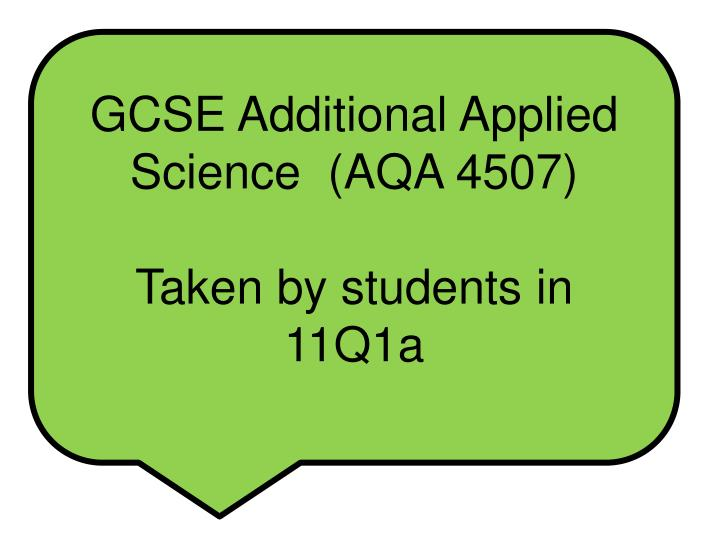 GCSE Additional Applied Science  (AQA 4507)