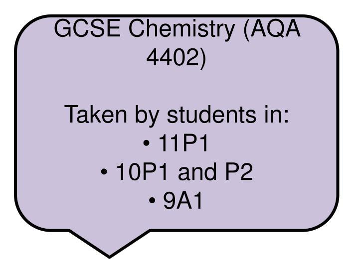 GCSE Chemistry (AQA 4402)