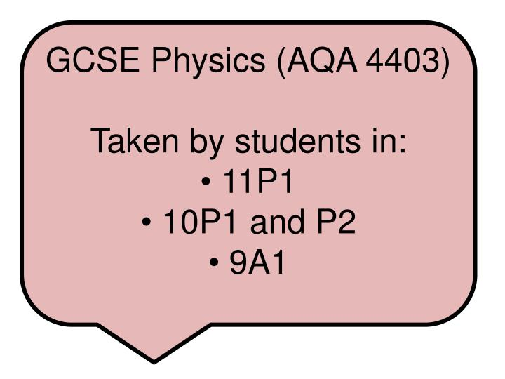 GCSE Physics (AQA 4403)