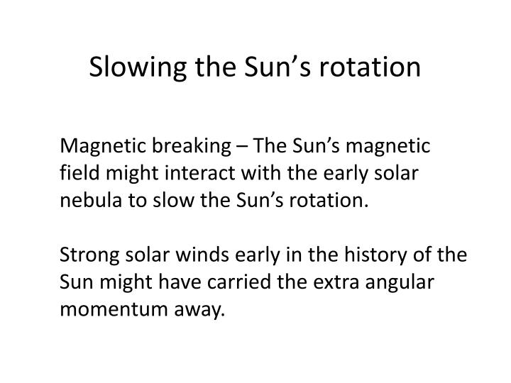 Slowing the Sun's rotation