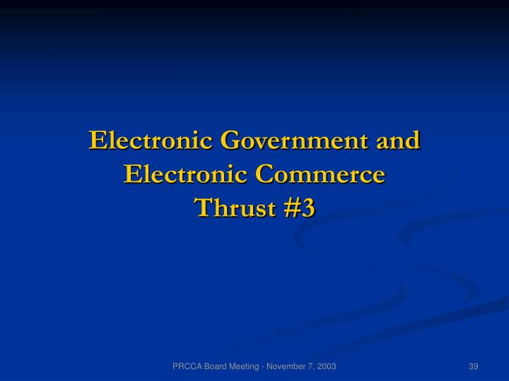 Electronic Government and Electronic Commerce