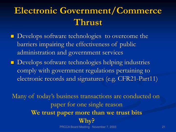 Electronic Government/Commerce Thrust