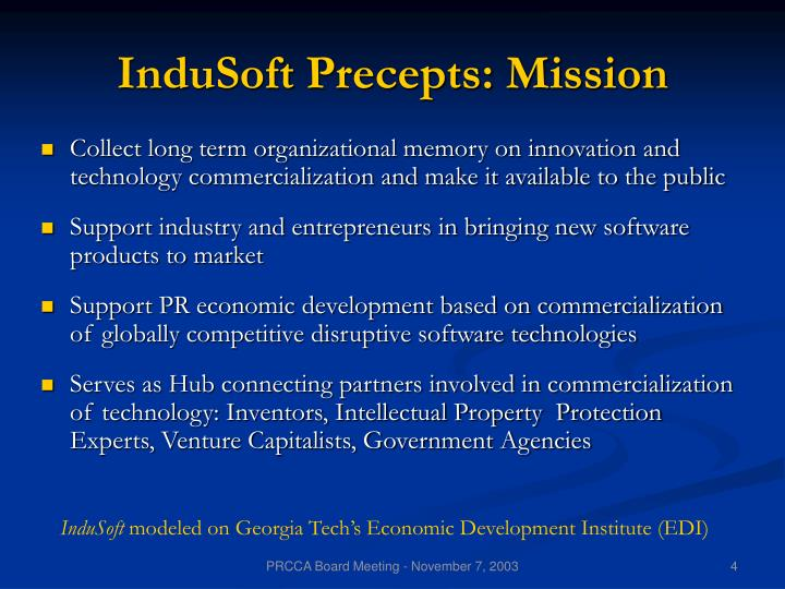 InduSoft Precepts: Mission