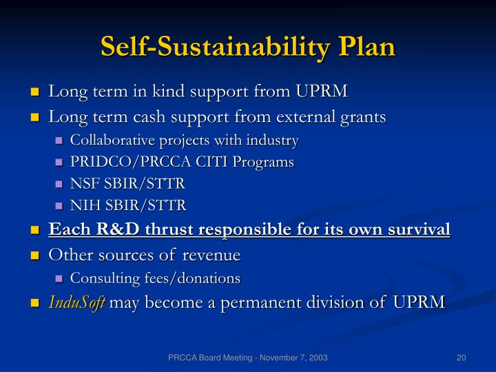 Self-Sustainability Plan