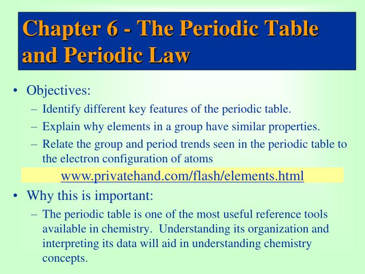 Ppt Chapter 6 The Periodic Table And Periodic Law Powerpoint