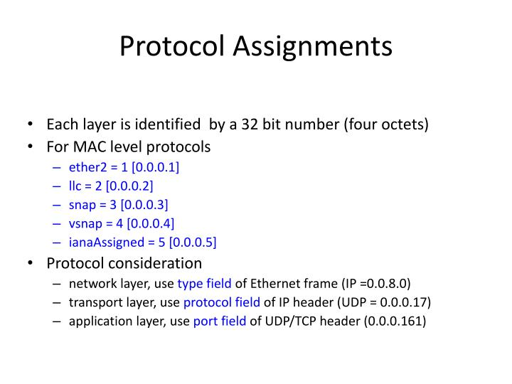 Protocol Assignments