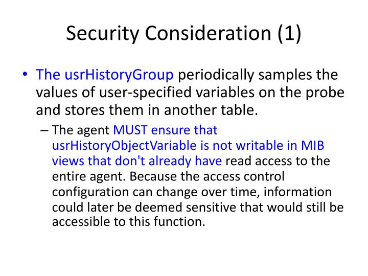 Security Consideration (1)