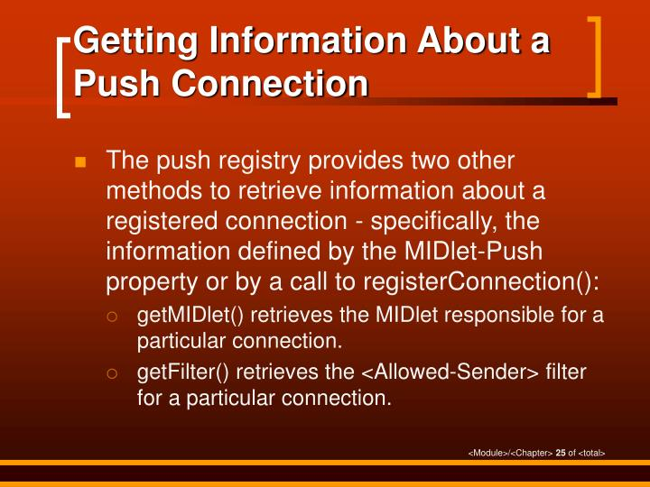 Getting Information About a Push Connection