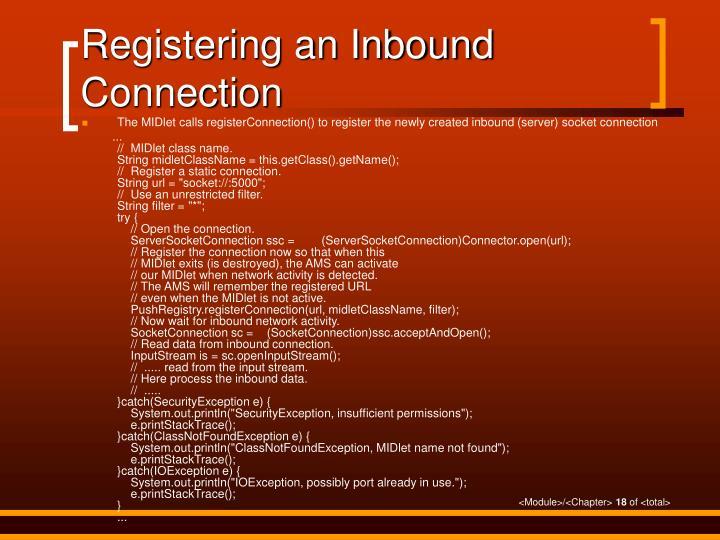Registering an Inbound Connection