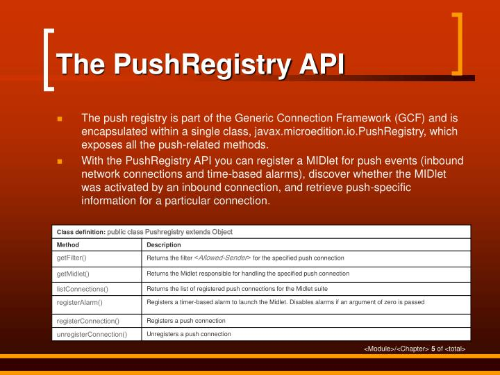 The PushRegistry API
