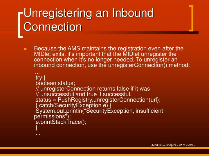 Unregistering an Inbound Connection