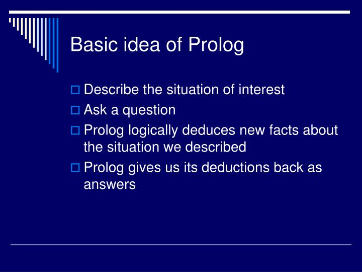 Basic idea of prolog