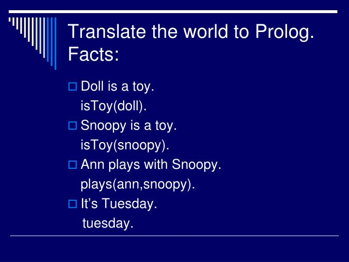 Translate the world to Prolog.