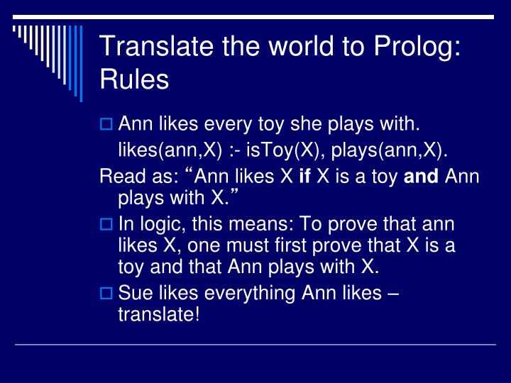 Translate the world to Prolog: