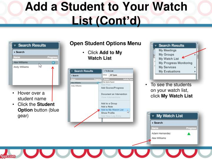 Add a Student to Your Watch List (Cont'd)