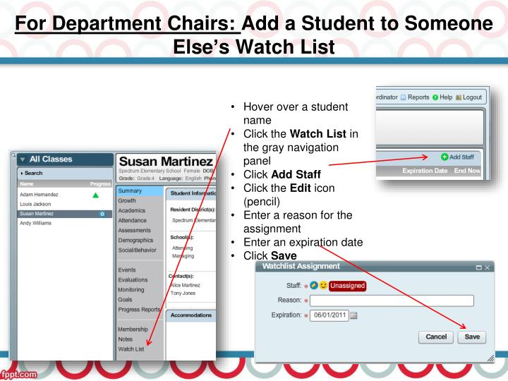 For Department Chairs: