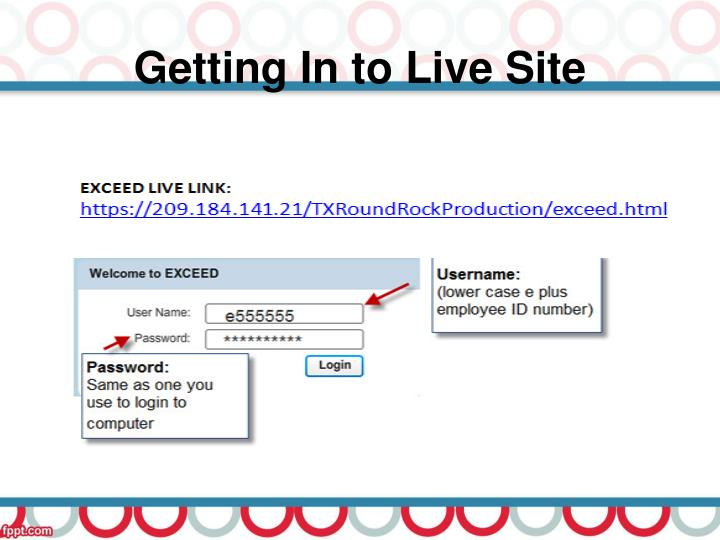Getting In to Live Site