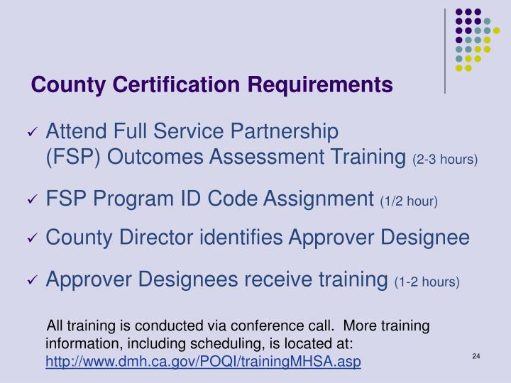 County Certification Requirements