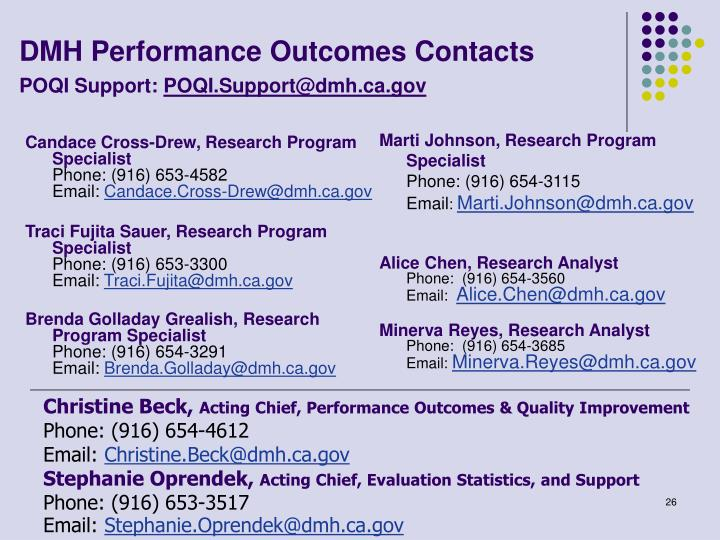 DMH Performance Outcomes Contacts