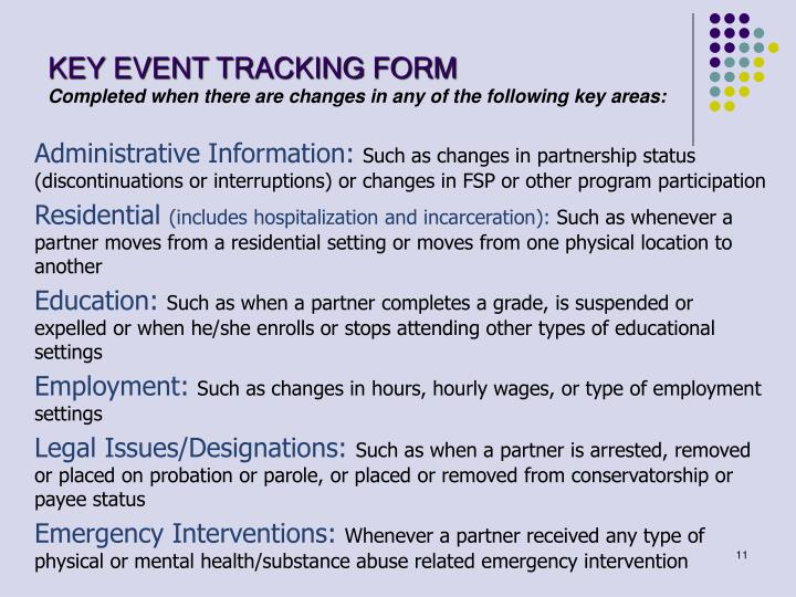 KEY EVENT TRACKING FORM