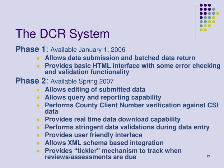 The DCR System