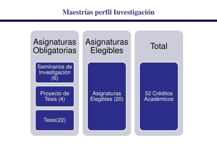 Maestrías perfil Investigación
