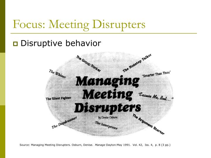 Focus: Meeting Disrupters