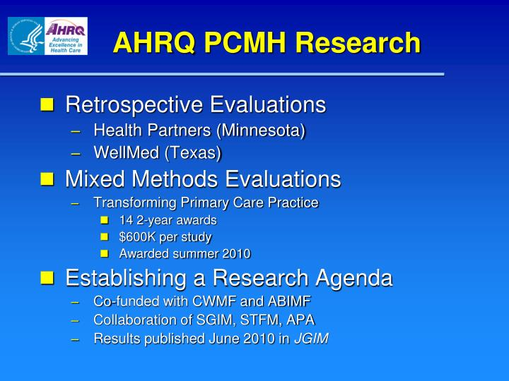 AHRQ PCMH Research