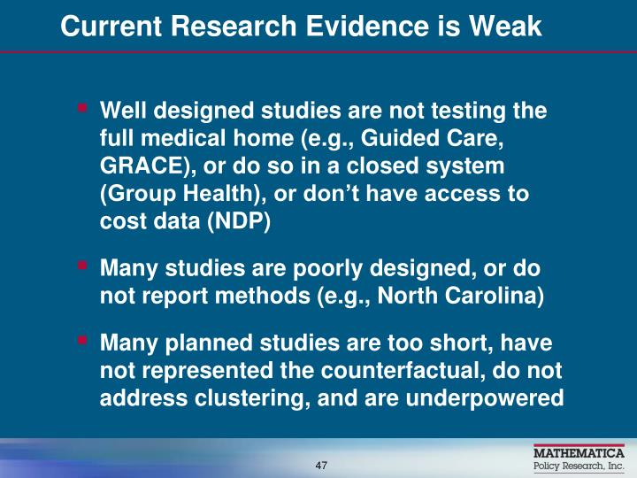 Current Research Evidence is Weak