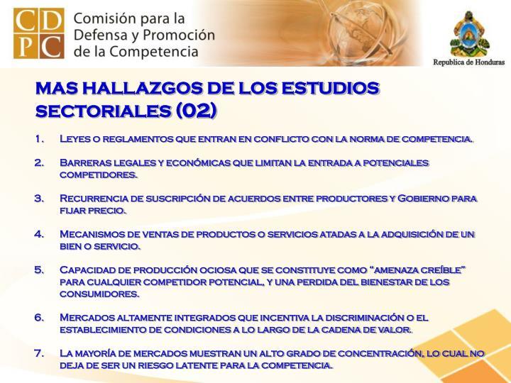 MAS HALLAZGOS DE LOS ESTUDIOS SECTORIALES