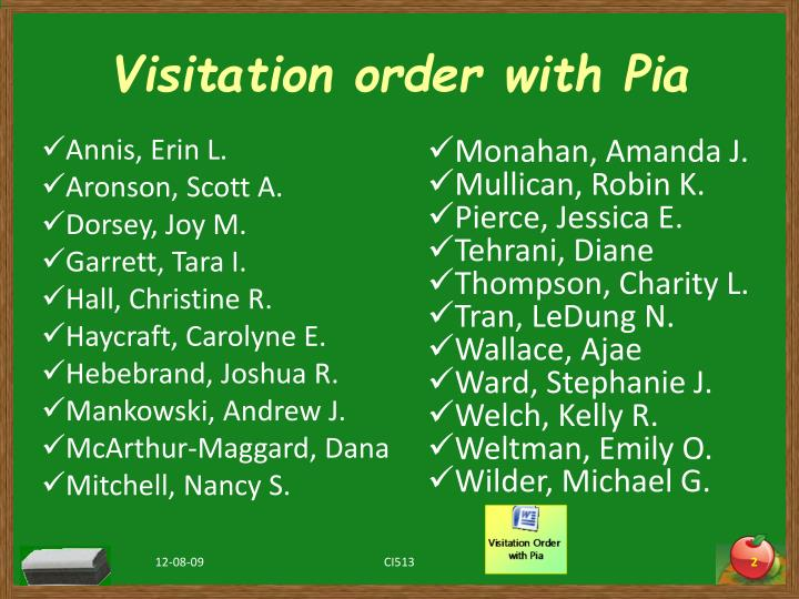 Visitation order with pia