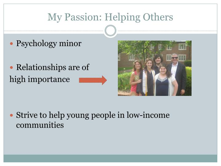 My Passion: Helping Others
