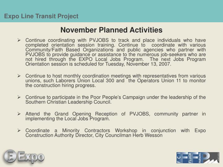 November Planned Activities