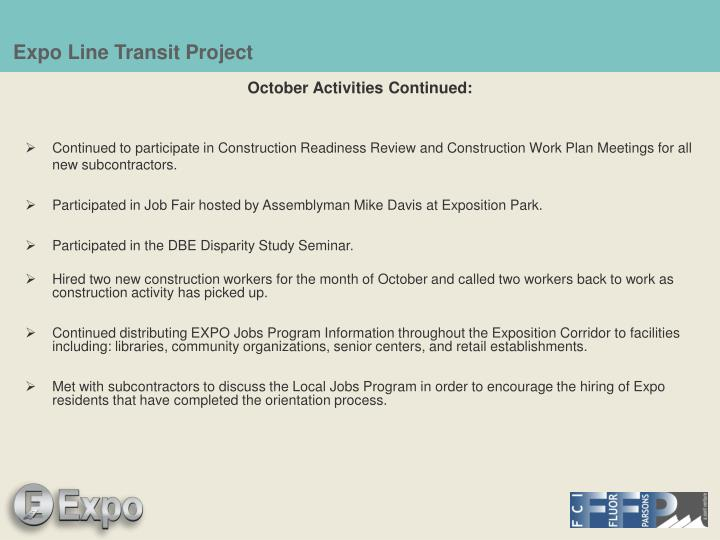 October Activities Continued:
