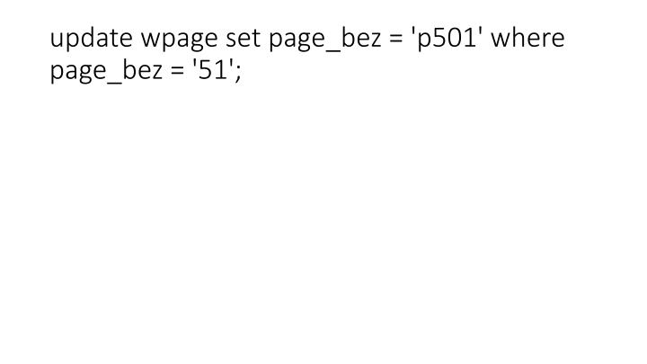 update wpage set page_bez = 'p501' where page_bez = '51';
