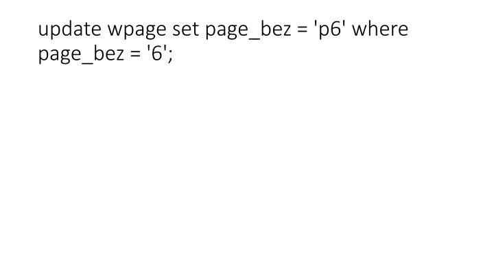 update wpage set page_bez = 'p6' where page_bez = '6';
