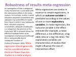 robustness of results meta regression
