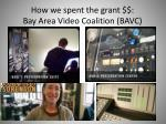how we spent the grant bay area video coalition bavc
