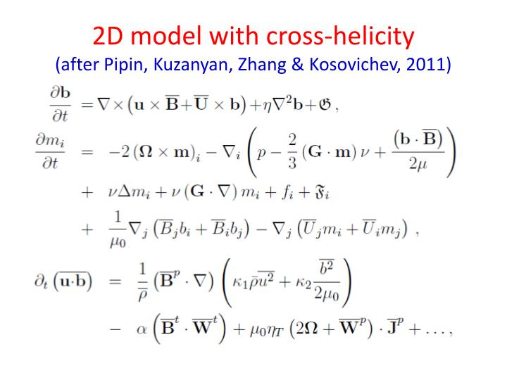 2D model with cross-helicity