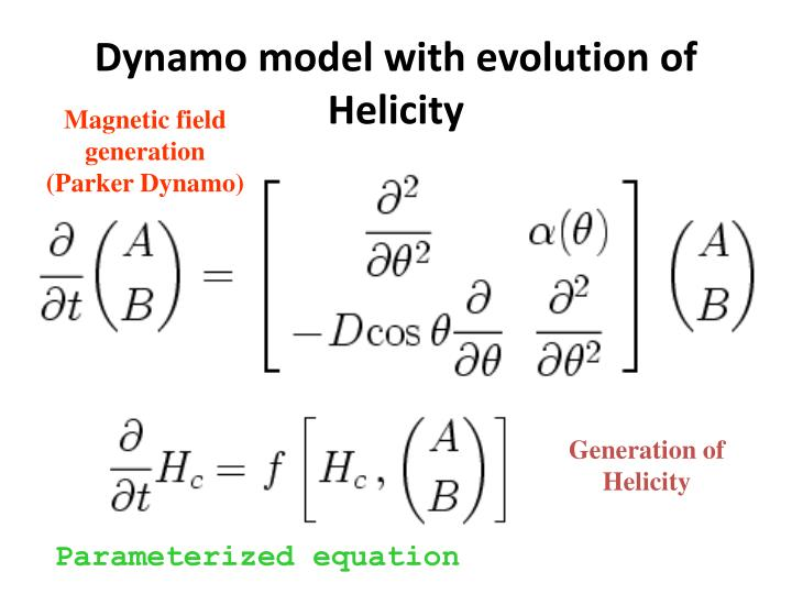 Dynamo model with evolution of Helicity