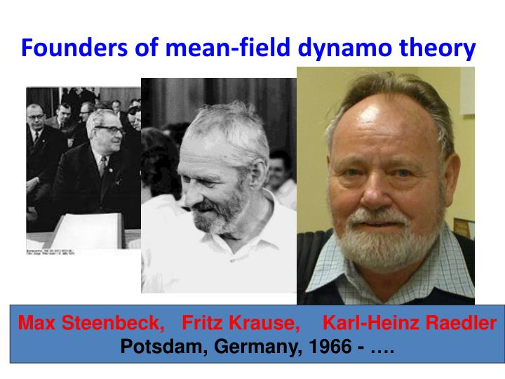 Founders of mean-field dynamo theory