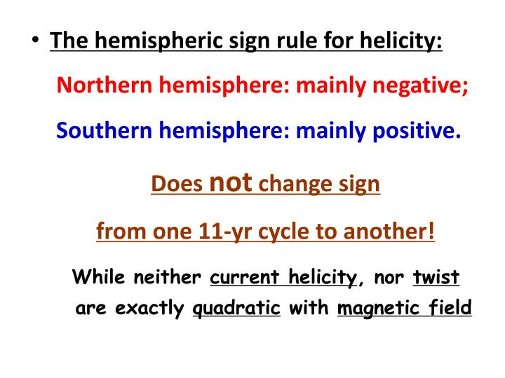 The hemispheric sign rule for helicity: