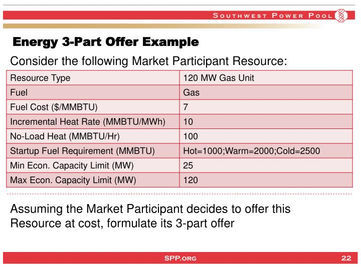 Energy 3-Part Offer Example