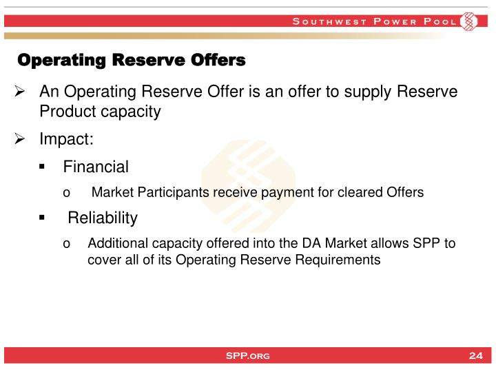 Operating Reserve Offers