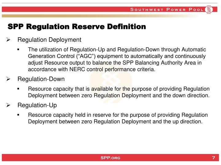 SPP Regulation Reserve Definition